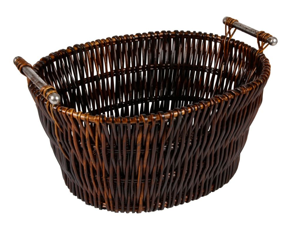 Hearth & Home Dark Wicker Basket With Chrome Handles